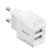 Baseus 2.1A Mini Dual USB Type-A Wall Charger - White Photo