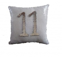 Iconix Two Way Sequin Pillow Case - White & Silver Photo