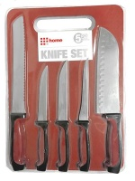 5 Piece Knife Set with Cutting Board - Red Photo
