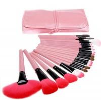 24 Piece Synthetic Hair Makeup Brush Set - Pink Photo