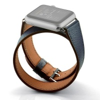 Apple Zonabel 38mm Navy Hermes Leather Wrap Strap for Watch Photo