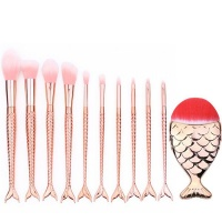 11 Piece Mermaid Make-Up Brush Set - Golden Photo