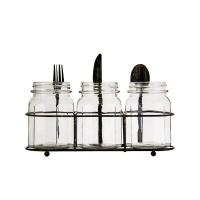 Regent - 3 Jar Glass Cutlery Caddy Compartment Photo