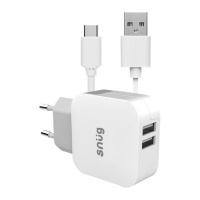 Snug Home Charger With USB Type - C Charge & Sync Cable - White Photo