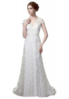 Vintage Lace Wedding Dress with Cap Sleeves - White Photo