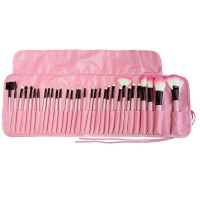 32 Piece Synthetic Hair Cosmetic Makeup Brush Set - Pink Photo