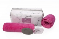Wonder Towel White Marble Cosmetic Bag Collection - Pink Photo
