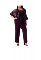 Sequined Lace Pantsuit - Purple Photo
