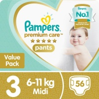 Pampers Premium Care Pants - Size 3 Value Pack - 56 Nappies Photo