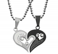 Uloveido Paired Heart Necklace Pendants for Couples Photo