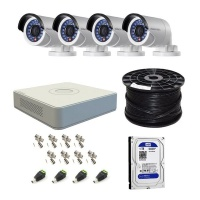 Hikvision 4 Channel Turbo DVR with 1TB HDD & 4 Cameras DIY CCTV Kit Photo