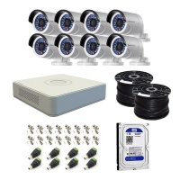 Hikvision 8 Channel Turbo DVR with 1TB HDD & 8 Cameras DIY CCTV Kit Photo