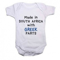 Qtees Africa Made in SA with Greek Parts Baby Grow Photo