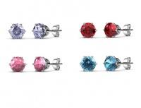Destiny 4 Pair Sarah Macaroon Earrings with Swarovski Crystals Photo