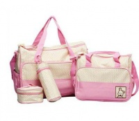 5 Piece everything-you-need Baby Diaper Nappy Changing Bag- Pink Photo