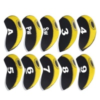 10 Piece Top Window Golf Iron Club Head Covers - Yellow & Black Photo