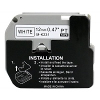 Brother Pylones Black on White Compatible 12mm Non-Laminated Label Tape Photo