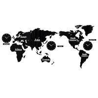 DIY 3D Wooden World Map Wall Clock- Black Photo