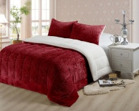Nambithi 3 Piece Sherpa Flannel Quilt Photo