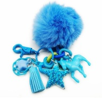 Keychain Horse Pom Pom Blue Photo