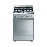 Smeg 60cm Stainless Steel Concert Cooker with 4 Burner Gas Hob - SSA60MX9 Photo