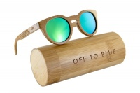 Off to Blue Wooden Polarized Bamboo Sunglasses - Green Photo