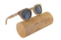 Off to Blue Wooden Polarized Bamboo Sunglasses - Silver Photo