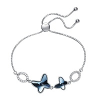CDE Sterling Silver Infinite Butterfly Bracelet with Swarovski Crystals Photo