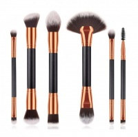 6 Piece Double Sided Makeup Brushes - Black Photo