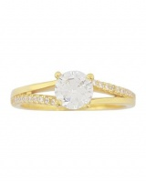 0.81ctw Cubic Zirconia Yellow Gold Plated Split Band Ring- Size O Photo