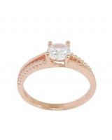 0.81ctw Cubic Zirconia Rose Gold Plated Split Band Ring- Size O Photo