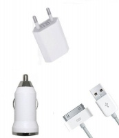 3-in-1 Car/Home Charger for iPhone 3/4 iPad 2/ iPad Touch White Photo