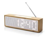 Lexon Titanium LED Clock Radio Bamboo White Photo