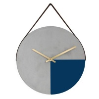 Cement Wall Clock - Navy Blue Gold Photo