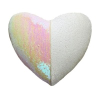 Heart Shaped Mermaid Colour Changing Sequin Cushion - White & Iridescent Photo