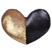 Heart Shaped Mermaid Colour Changing Sequin Pillow - Matte Gold & Black Photo