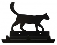 Cat Walking Key Rack Glasses & Leash Holder with 3 Hooks - Black Photo