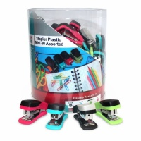 Parrot Products Parrot: 40 Mini Assorted Plastic Staplers Photo