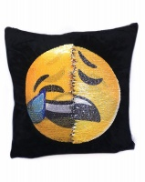 Emoji Changing Mermaid Sequin Cushion Pillow - Cry Laughing & Unhappy Photo