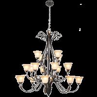 3 Tier Metal Chandelier Faded Amber Glass 20 Lights - Bright Star Lighting Photo