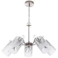 Satin Chrome Chandellier with Patterned Frosted Glass Photo