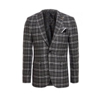 Quiz Mens Black/White Check Pattern Blazer - Black/White Photo