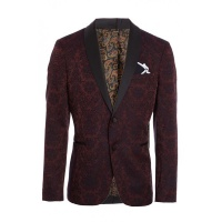 Quiz Mens Burgundy Blazer with Embroidery Detail - Burgundy Photo