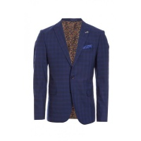 Quiz Mens Mid Blue Check Blazer - Blue Photo