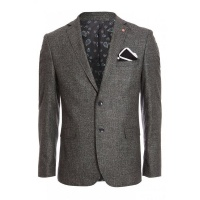 Quiz Mens Mid Grey Plain Textured Blazer - Grey Photo