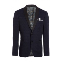 Quiz Mens Navy All Over Embroidered Blazer - Navy Photo