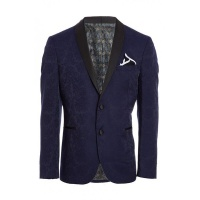 Quiz Mens Navy Blazer with Embroidery Detail - Navy Photo