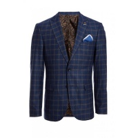 Quiz Mens Navy End Check Blazer - Navy Photo