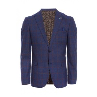 Quiz Mens Navy/Red Check Blazer - Navy Photo
