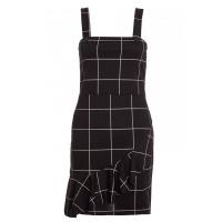 Quiz Ladies Black And Cream Check Button Pinafore - Black Photo